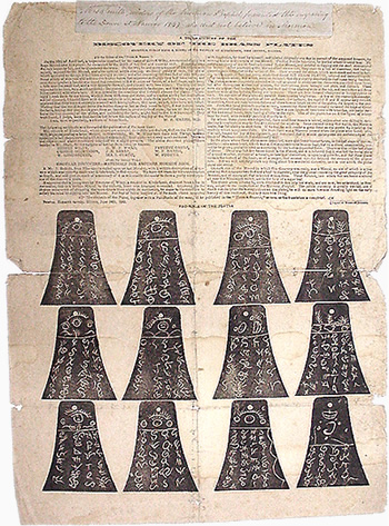 Kinderhook Plates poster printed by John Taylor and Wilford Woodruff in 1843